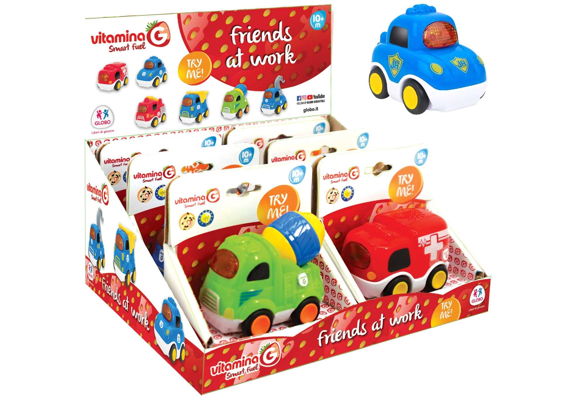 Free Wheel Vehicle W/Light/Sound/ Try Me 6Pcs D/B